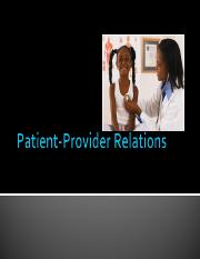 Patient-Provider Relations