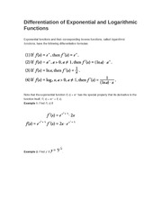 Differentiation of Exponential and Logarithmic Functions