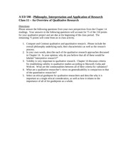 A ED 598 - Class 11 - An Overview of Qualitative Research