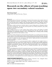 Research on the effects of team teaching opon two secondary school teachers