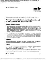 Mu (2007) foreign subsidiaries' learning from local environments