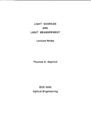 Light Sources and Measurement