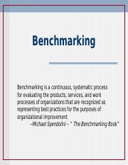 Overcoming Barriers and Benchmarking f 2016