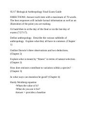 SU17 Biological Anthropology Final Exam Guide.docx
