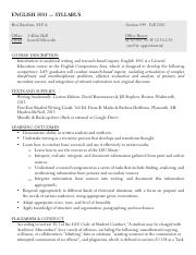 English 1001 Syllabus [049 - Ben Z]