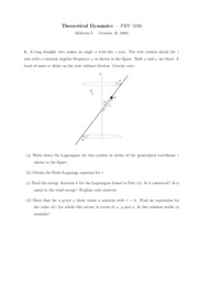 Sample Midterm Exam 1-1 on Theoretical Dynamics