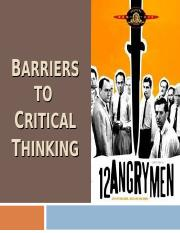 12 angry men what barriers to critical thinking prevent 12 angry men study guide contains a biography of reginald rose, literature  essays, quiz questions, major themes, characters, and a full.