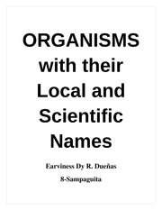 ORGANISMS with their Local and Scientific Names