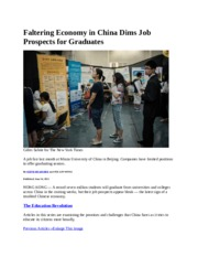 Faltering Economy in China Dims Job Prospects for Graduates (1)