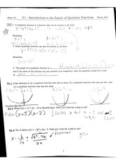 Math 111 3.1 Introduction to the Family of Quadratic Functions Notes
