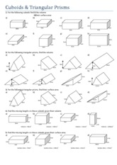 Printables Surface Area Of A Prism Worksheet surface area of triangular prisms worksheet abitlikethis and volume cuboids