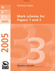 KS3 Science 2005 mark scheme