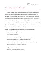 General Business Article Review