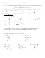5.1 - Vertical Angles and Linear Pairs