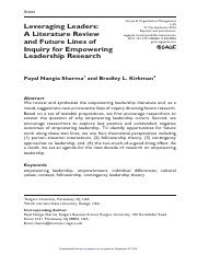 Leveraging leaders- A literature review and future lines of inquiry for empowering leadership resear