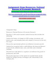 Assignment Steps Resources National Bureau of Economic Research