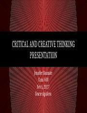 Critical and Creative Thinking Presentation
