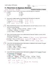 oxidation reduction worksheet -