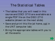 (7) The Statistical Tables