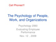 Lecture 9, Evaluating Employee Performance, Full Slides, Nov. 12, 2009