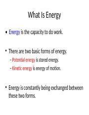 Life Chapter 3 Part 1 Energy Use