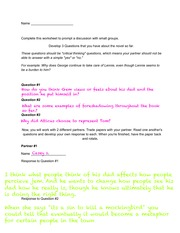 Discussion Sheet- Create your own questions worksheet