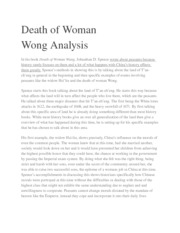 Death of Woman Wong Notes