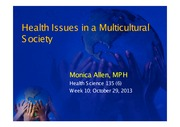 Week 10 (Health Care Disparities & Impact of Culture on Health)