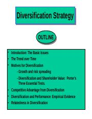 Corporate diversification strategy ppt