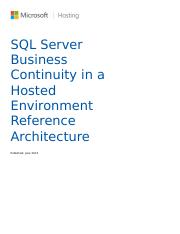 SQL Server Business Continuity in a Hosted Environment Reference Architecture.docx