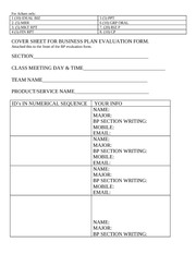 COVER SHEET FOR BUSINESS PLAN EVALUATION FORM 2ndREV 2-11