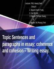 1. Topic Sentences and paragraphs in essay final