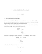 Integer Programming Duality and Formulations notes
