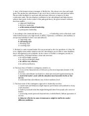 leadership exam 1 study guide