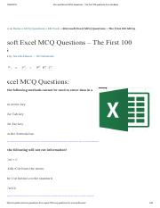 Microsoft Excel MCQ Questions - The first 100 questions from the Bank