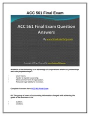 ACC 561 Final Exam Latest UOP Study Materials