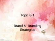 Topic 8-1. Brand and Branding Strategies
