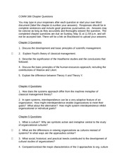 COMM 388 chapter 3, 4, 5 questions