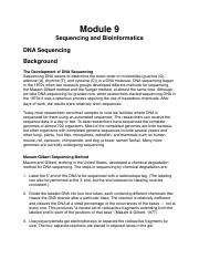 09 Sequencing and Bioinformatics
