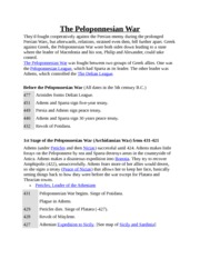 The Peloponnesian War Key Points Handout