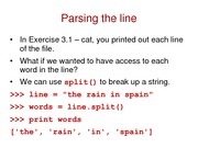 Parsing the line