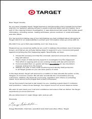 Target's breach notification letter