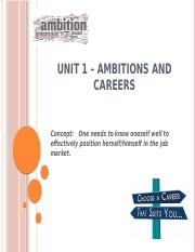 UNIT 1 – AMBITIONS and CAREERS(MWF)