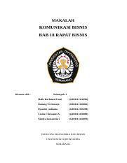 Makalah Kelompok 1 Makalah Komunikasi Bisnis Bab 18 Rapat Bisnis Disusun Oleh Kelompok 1 Hafiz Rachman Fauzi 12030112110296 Danang Tri Course Hero