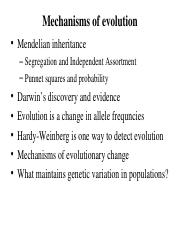 Lecture 2-3 Mendel, Darwin and Evolution