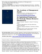 An Aspirational Framework for Strategic Human Resource Management