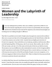 Women and the Labyrinth of