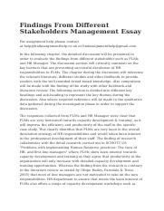 Findings From Different Stakeholders Management Essay