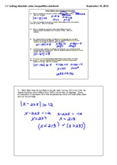 writing and solving absolute value equations and inequalities notes