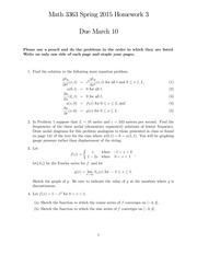 Homework 3 on Introduction to Partial Differential Equations Spring 2015